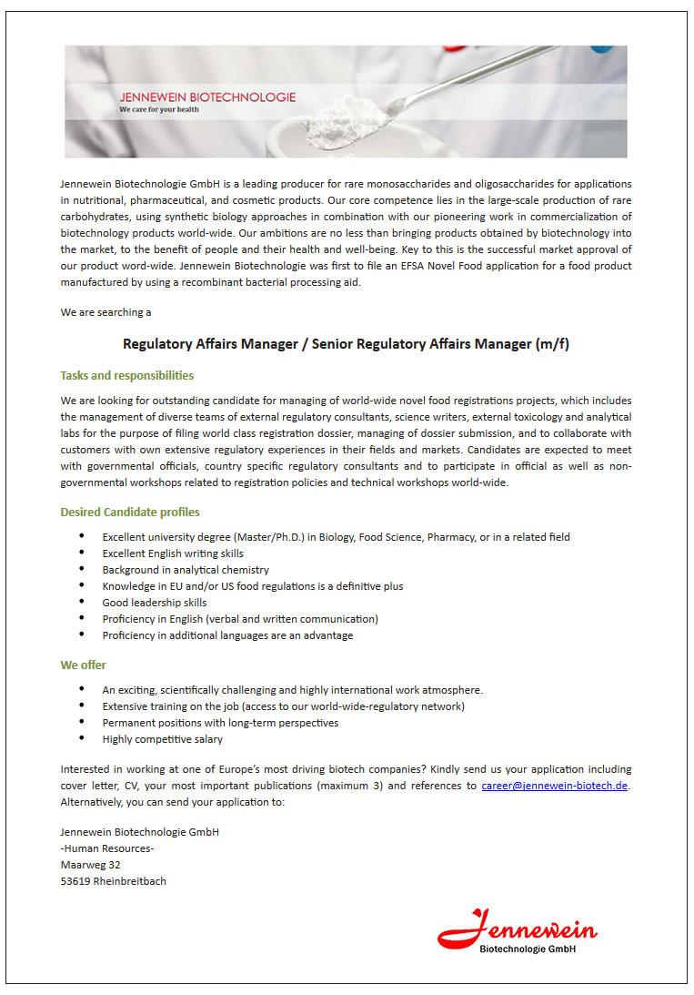 Jennewein Biotechnologie GmbH -- Regulatory Affairs Manager