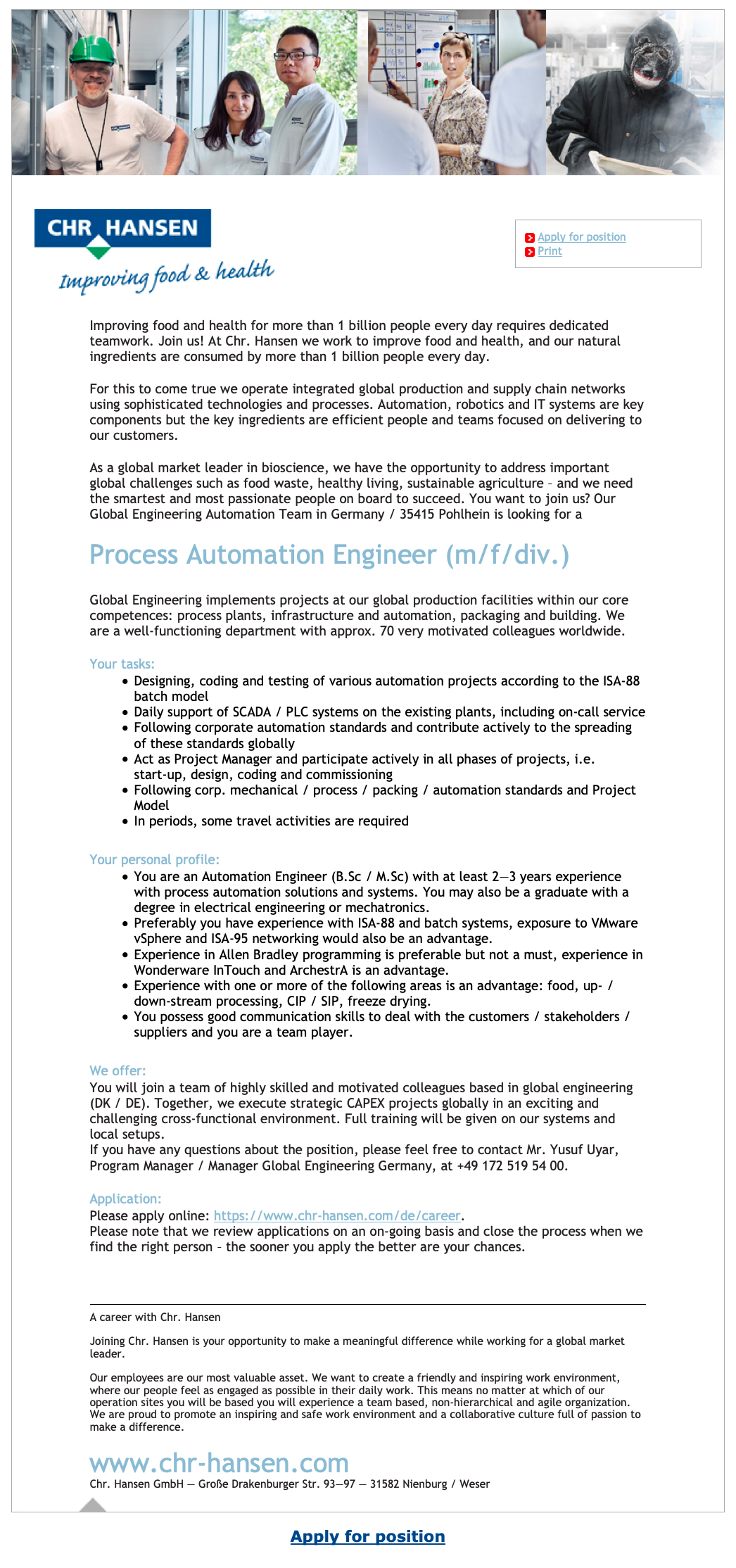 Vacancy Process Automation Engineer (m/f/div ) - foodjobs de