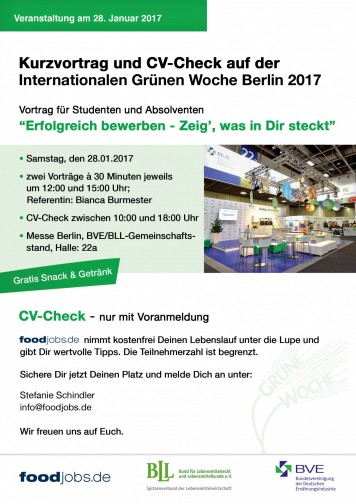foodjobs.de auf der Internationalen Woche 2017 in Berlin